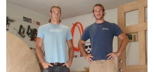 Twin brothers Brian, left, and Craig Welborn of Austin will make their television debuts on Flipping the Block, premiering on Sunday, July 20 on HGTV. Photo courtesy of Welborn Woodworking